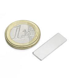 Q-25-08-01-N, Blokmagneet 25 x 8 x 1 mm, neodymium, N48, vernikkeld