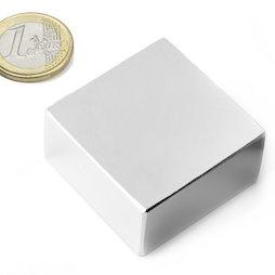 Q-40-40-20-N, Block magnet 40 x 40 x 20 mm, neodymium, N42, nickel-plated