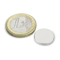 S-15-02-N, Disc magnet Ø 15 mm, height 2 mm, neodymium, N40, nickel-plated