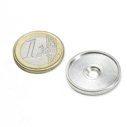 MSD-21, Metalen schijf met rand en verzonken schroefgat M3, Binnendiameter 21 mm, als tegenstuk voor magneten, geen magneet!