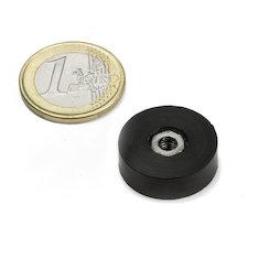 ITNG-16, potmagneet met rubber coating, met inwendig schroefdraad M4, Ø 20 mm