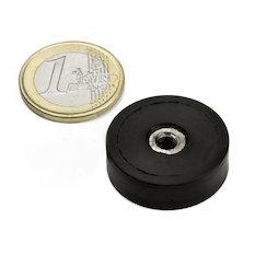 ITNG-25, potmagneet met rubber coating, met inwendig schroefdraad M5, Ø 29 mm