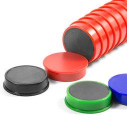 M-OF-RD30, Bordmagneten van ferriet, geplastificeerd, 10 stuks per set, in verschillende kleuren