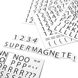 BA-015LN, Cijfers en letters magnetisch, om metalen schappen mee te etiketteren, 2-delige set, 120 tekens per A4-vel