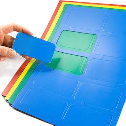 BA-014BR, Magneetsymbolen tekstballon rechthoekig, voor whiteboards & planborden, 10 symbolen per A4-blad, in verschillende kleuren