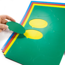 BA-014BO, Magneetsymbolen tekstballon ovaal, voor whiteboards & planborden, 10 symbolen per A4-blad, in verschillende kleuren