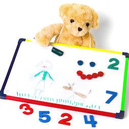 KMWB-2840, Kinderwhiteboard 28 x 40 cm, om te tekenen, spelen, schrijven & leren, aan beide zijden te gebruiken, magnetisch