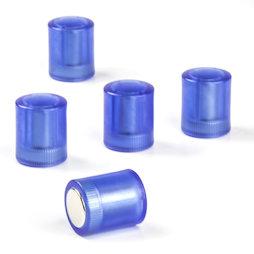 M-PC/bluet, Bordmagneten cilindrisch, neodymium magneten met kunststof kapje, Ø 14 mm, transparant blauw