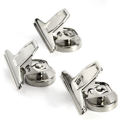 M-86, Pince-lettres magnétique, argenté, en métal, lot de 3