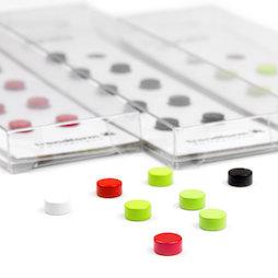LIV-44, Steely, gekleurde neodymium magneten, set van 10, 6 x 3 mm klein