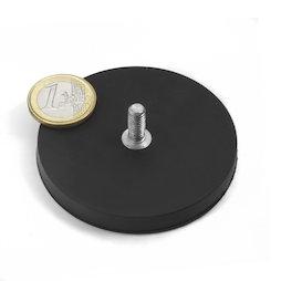 GTNG-66, rubber gecoate potmagneet met draadeinde, Ø 66 mm, schroefdraad M8