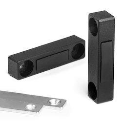 M-FURN-03, Magneetbeslag smal voor meubels, van metaal, met tegenplaat