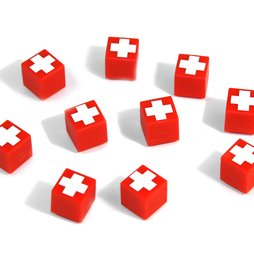 AG-01, Swiss Cube, deco magnets red with Swiss cross, side length approx. 12 mm