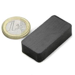 FE-Q-40-20-10, Block magnet 40 x 20 x 10 mm, ferrite, Y35, no coating