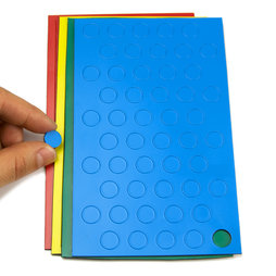 BA-012C, Magnetische symbolen cirkel klein, voor whiteboards & planborden, 50 symbolen per vel, in verschillende kleuren
