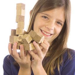 M-43, Houten kubusjes set, 27 magnetische houten kubusjes, uit geolied eikenhout
